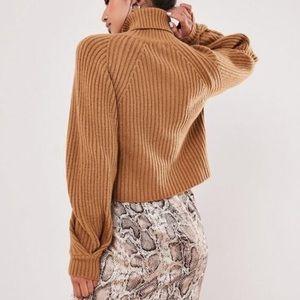 Turtleneck roll neck tucked sleeve sweater sz S